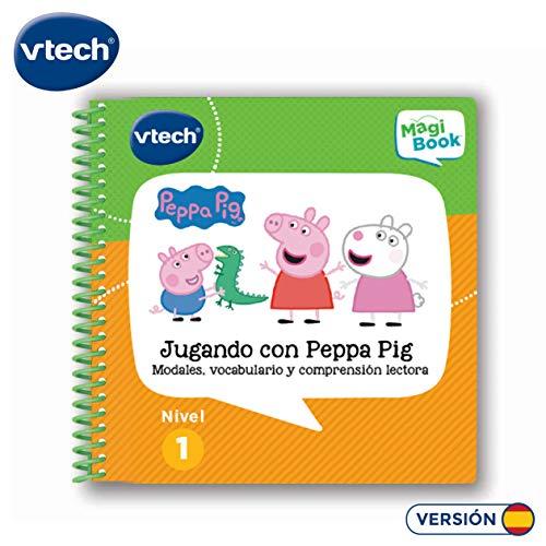 Vtech- Libro para Magibook Jugando con Peppa Pig, comprensión lectora, comportamientos cotidianos y Vocabulario con más de 40 Actividades y Cientos de interacciones, Nivel 1, 2-5 años (80-480422)