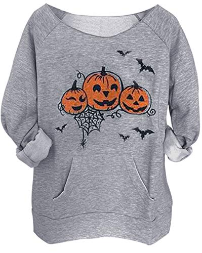 Halloween Pumpkin Face Bat Pocket Sweatshirt Women Spider Printed Pullover Top … (XX-Large, Grey)