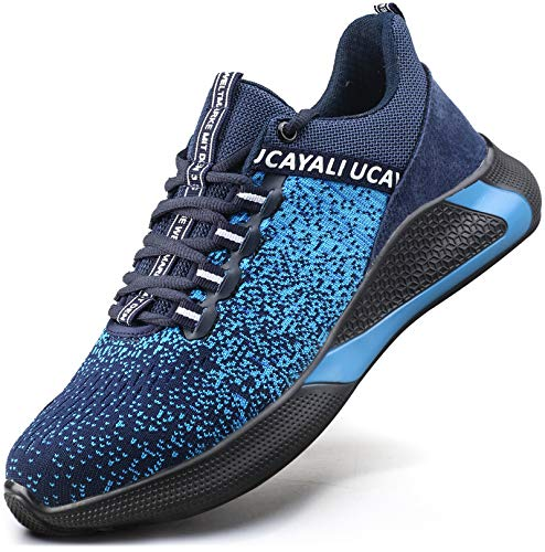 UCAYALI Zapatos Seguridad Hombre Calzado de Trabajo Mujer Zapatos de Protección Antideslizante Anti Pinchazo Zapatos de Industria y Construcción Azul Gr.42