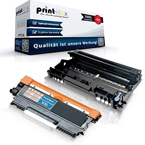 Print-Klex Trommeleinheit DR2200 mit Toner TN2220 kompatibel für Brother MFC 7360 N MFC 7360 Ne MFC 7460 DN MFC 7470 D MFC 7860 DN MFC 7860 DW TN-2220 TN 2220 DR-2200 DR 2200 - Office Quantum Serie