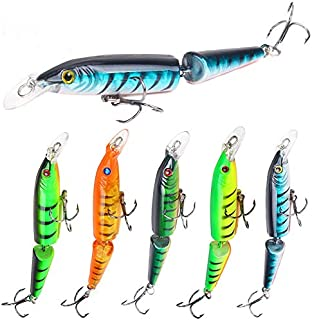 UNVINS 5pcs Multi Jointed Minnow Fishing Lures Bait CrankBait 2 Segments Pike for Bass Trout Walleye Freshwater Saltwater Swimbaits Tackle Tool