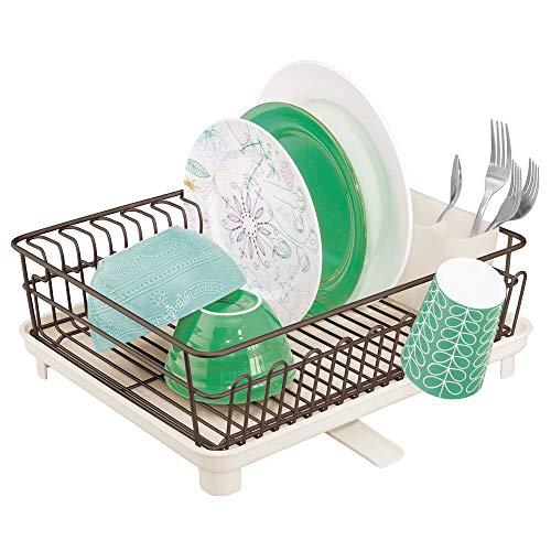 mDesign -Afdruiprek - 3-delig - afdruiprek, bestekbak en verwijderbare lekbak - ideaal voor de keukengootsteen - Brons/crème
