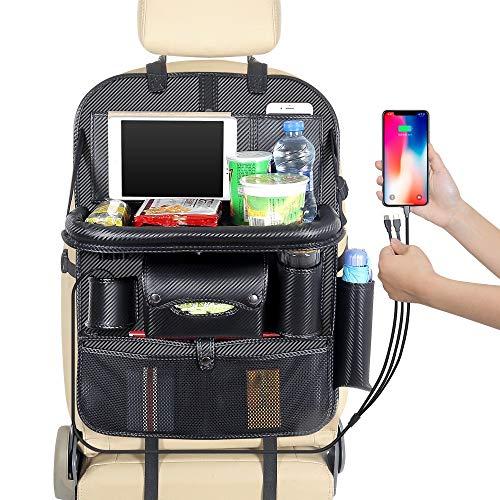 JenLn Backseat Car Organizer Bolsa de Almacenamiento de Asiento Trasero del Coche Accesorios para automóviles para Viajes a la Familia. (Color : Black, Size : One Size)