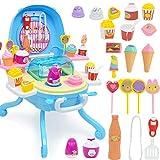 Jackallo Pretend Play Food para niños, 41 Piezas de simulación de Helado, Juguetes de simulación con luz y música, niños y niñas
