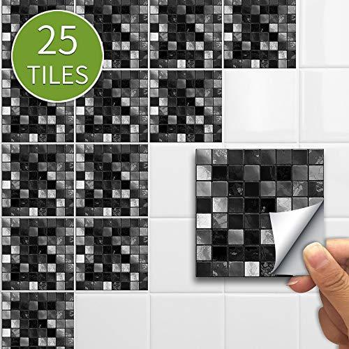 Leileixiao 10/15 CMX25PCS Etiqueta de Pared de Mosaico Vintage PVC Etiqueta de azulejo Impermeable Adhesivo Adhesivo Decoración para el hogar Cocina Muebles de baño