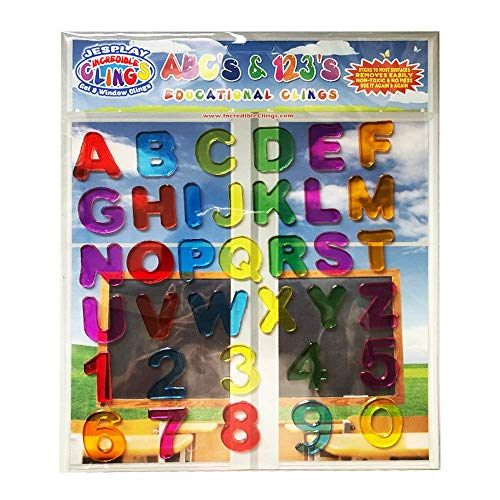 ABC & 123 Gel Clings - Full Alphabet Letters and Numbers Window Clings for Kids - 36 Removable and Reusable Educational Gel Decals for Home, Airplane, Classroom, Nursery Decoration