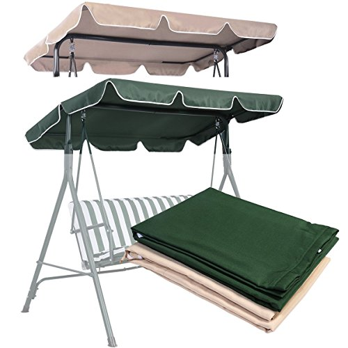 COSTWAY Replacement Canopy for Swing Seat 2 & 3 Seater Sizes Hammock Cover Top Garden Outdoor (109 x 196cm, Green)