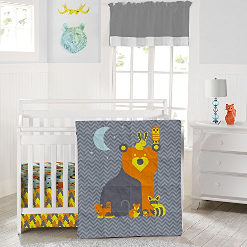 Crib Nursery Reversible Bedding Set Woodland Creatures - Adorable 3 Piece Crib Bedding Set Made from Soft Durable Microfiber (fits a standard size...