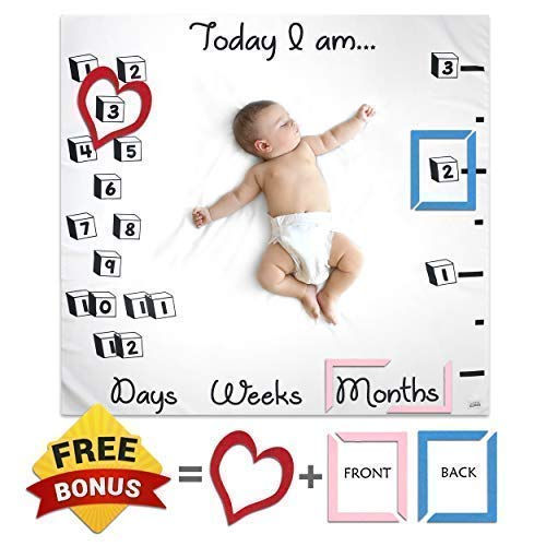 Baby Monthly Milestone Blanket With Frames For Boy Girl   Soft Newborn Photography Props Set By Little GONZA   Large Toddler Photo Month Blanket Backdrop   Baby Registry, New Mom, Baby Shower