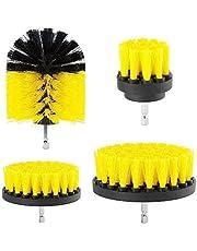 Boormachine borstelopzetstuk boorborstelbevestiging scrubber reinigingskit voor het reinigen van de autodouche tegelwielen tapijtmortel kussen 4 stuks geel