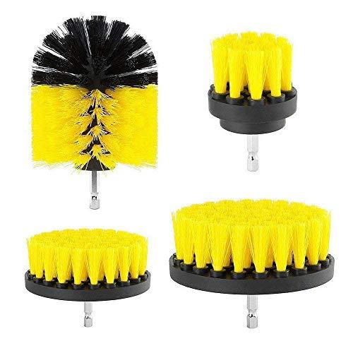 Bohrmaschine Bürstenaufsatz Bohrbürsten Befestigung Scrubber Reinigung Kit zum Reinigen der Autodusche Fliesenräder Teppichmörtel Polster 4PCS Gelb