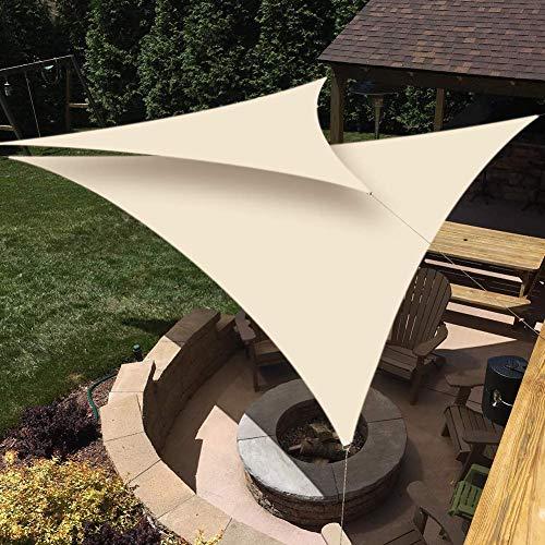 GWZSX Anti-UV Atmungsaktive Sonnenschutz Dreieck Sonnensegel Sonnenschutzmittel Sail Wasserabweisend mit Seilen Pergolaabdeckung Sonnenschirm Draussen Terrasse-3.6X3.6X3.6M Cremeweiß