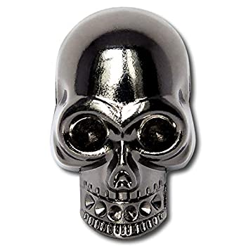 Big Punk Skull Ghost Brass Rivet for Bag Hat Shoe Jacket Belt Motorcycle Furs Jeans Leather Choker DIY Punk Leather Craft Accessory Gun Black 1Pack 1.2×1.3 inch