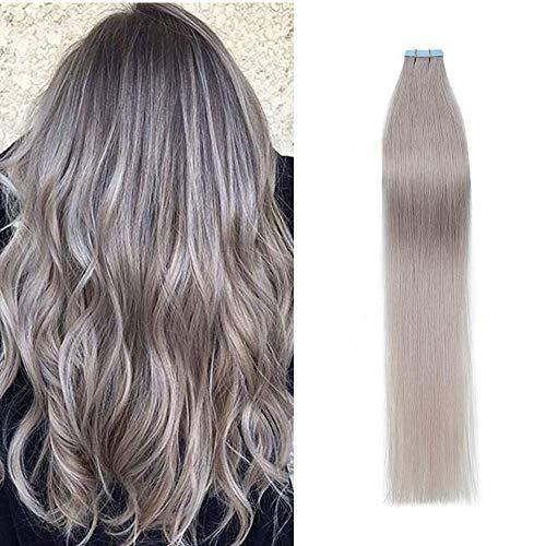 Extension Capelli Veri Biadesivo Adesive Invisibile Naturale - 30cm 20g 10 Fasce - 100% Remy Human Hair Umani Lisci, Grigio