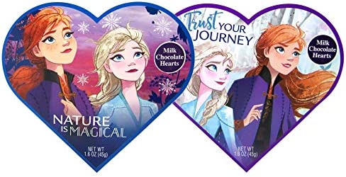 Disney Frozen 2 Valentines Heart Shaped Boxes with Milk Chocolate Hearts 1 6 Ounce Pack of 2 product image