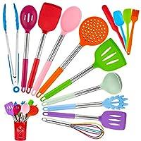 fohil 15 pezzi set di utensili da cucina in silicone, utensili da cucina silicone set multicolore resistente al calore antigraffio antiaderente strumento di cottura incluso spatola cucchiaio pinze