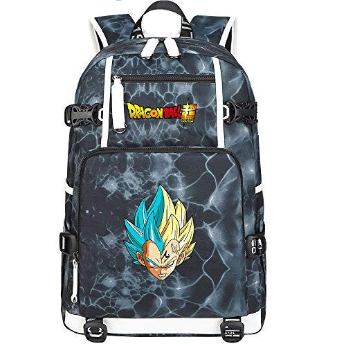 ZZGOO-LL Dragon Ball Son Goku/Vegeta IV/Torankusu Anime Backpacks Student School Bag Laptop Backpack with USB Charging Port-F