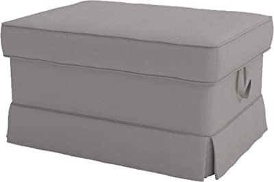 Cotton Ektorp Ottoman Cover Replacement is Custom Made Slipcover for IKEA Ektorp Footstool Cover (Light Gray Ottoman)