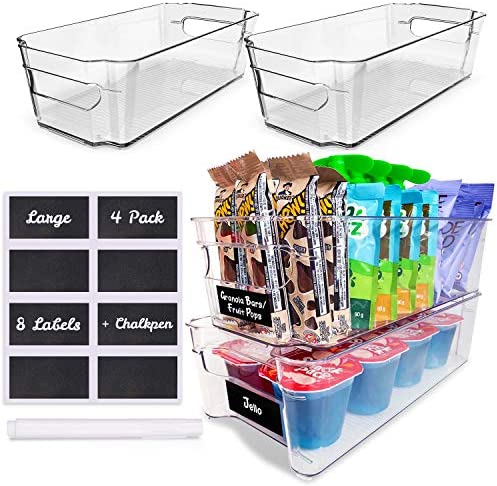 4 Pack Pantry Bins Stackable Fridge Organizer Sturdy Pantry Storage Bins Quality Clear Organizing product image