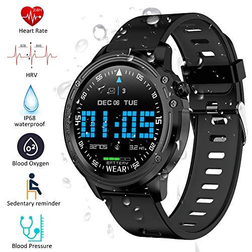 Padgene IP68 wasserdichte Sport Fitness Uhr Voller Touchscreen Smartwatch Sportuhr Fitness Tracker Armbanduhr mit EKG Blutdruck Blutsauerstoff Pulsmesser für Damen Herren(184Schwarz)