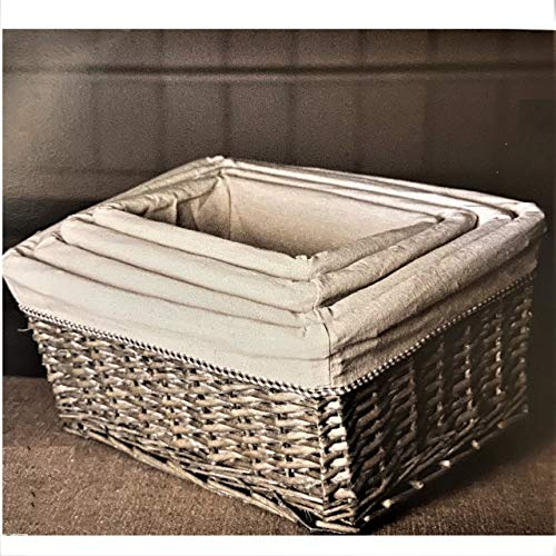 Tutti Decor Grey Washed Wicker Lined Storage Basket Set of 4 Gingham Trimmed Linen Washable Linings