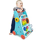 Imagination Generation Blue Push-n-Play Wooden Learning Walker Toy, 10 Fun Activities for Sitting, Standing, & Walking Toddlers