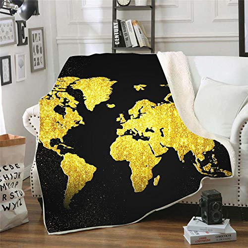 PengMu Zachte bankdeken, 3D-geprint, tweelaagse, verdikte kaart van lamskasjmier, onderhoudsvriendelijk, super warme deken
