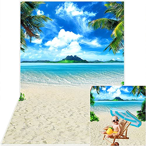 Avezano Summer Beach Backdrop Tropical Sea Island Palm Trees Background Blue Sky Seaside Scene Baby Wedding Bridal Shower Decorations Banner Photo Booth Props (5x7)
