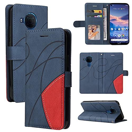 ZHANGHUI Funda protectora para Nokia 3.4 de piel tipo cartera, ranura para tarjeta, funda para teléfono Nokia 3.4, cartera para hombre y mujer, a prueba de golpes, color azul