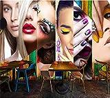 Papel Pintado Fotográfico 200x150 cm - 4 tiras Chica de maquillaje Tipo Fleece no-trenzado XXL Salón Dormitorio Despacho Pasillo Decoración murales decoración de paredes moderna