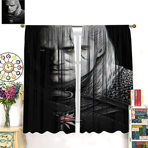 Petpany The Witcher - 3 cortinas de microfibra de caza salvaje de Geralt, 214 x 214 cm, aislamiento de ahorro de energía, apto para colmillos de sala de juegos infantiles.