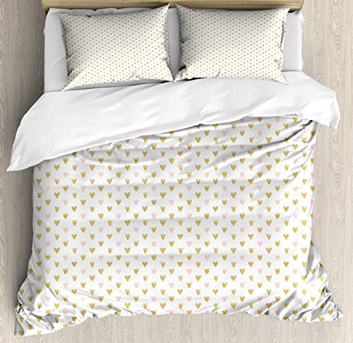 Pink Hearts Hotel 4pc Duvet Cover Set, Hypoallergenic Decorative Bedding Set with Zipper Closure, Full Evenly Arranged Hand Sketched Hearts Illustration Valentine, Pale Earth Yellow and Rose