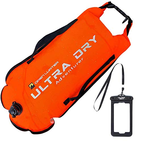 Photo of Swim Buoy Tow Float Highly Visible Swimming Float dry bag with Adjustable Waist Belt, carry strap, waterproof phone case for Open Water, Water Sports, Swimming 28 l Orange