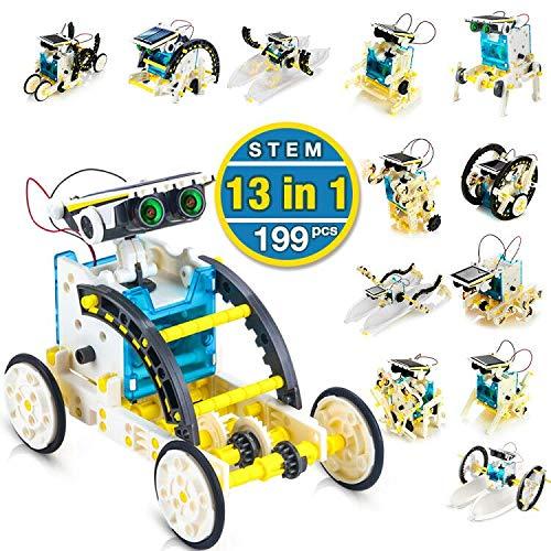 CENOVE STEM 13-in-1 Giocattolo Robot Solare per l\'educazione Kit di esperimento di Scienza della Costruzione Fai-da-Te per Bambini, Alimentato dal Sole