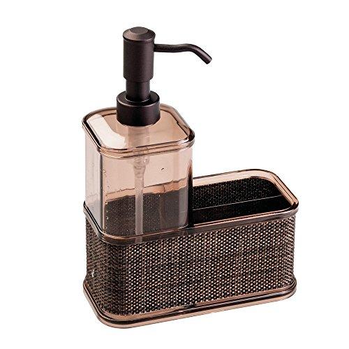 InterDesign Twillo Organizador de cocina, dispensador de jabón líquido grande en plástico con esponjero para fregaderos de cocina, bronce