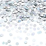 Laser confetti are made of plastic and have a metallic texture with a smooth surface and shiny on both sides. Laser confetti 1cm in diameter, 2 ounces = 60 grams Table decoration: decorated with square tables, dessert tables, gift boxes, favorite bag...