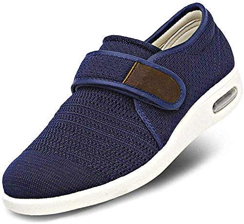 AUZZO HOME Zapatos de los Hombres diabéticos Ajustables Extra Ancho del Amortiguador Edema Zapatillas Aire Respirable a pie Ajustable Zapatos de Interior/Exterior Ortopédica Sandalias,Azul,46