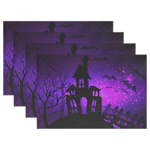 Naanle Halloween Placemats Set of 4 Halloween Haunted House with Bats and Trees and Pumpkins Non Slip Heat-Resistant Washable Table Place Mats for Kitchen Dining Table Home Decoration 12 x 18