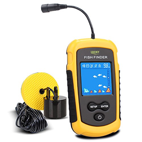 LUCKY Handheld Fish Finder Portable Fishing Kayak Fishfinder Fish Depth Finder Fishing Gear with Sonar Transducer and LCD Display