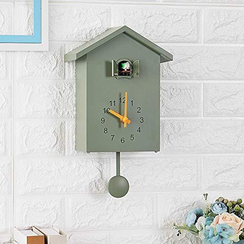Scandinavische stijl wandklok, koekoeksklok uit het raam, kleine vogel per uur klok geschikt voor thuisgebruik,Green