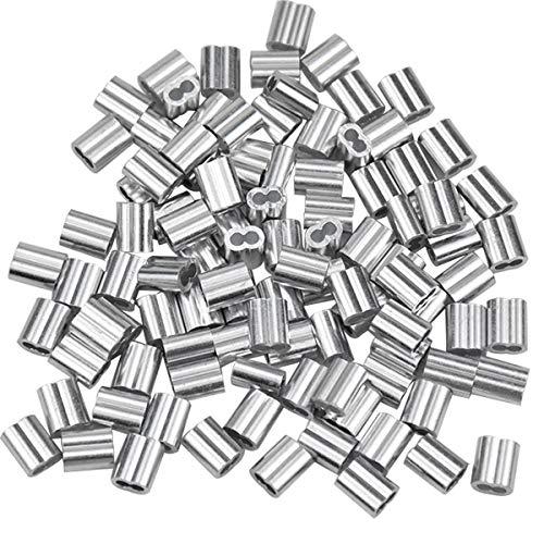 100 Stücke Aluminiumhülsen Alu Klemme, Aluminium Pressklemmen, Alu-Crimpschlaufe Würgeklemmen mit Doppelhülsen, Drahtseilklemmen Seilklemme für Stahlseil/Drahtseil Kabel, Silberton (2mm/0,079inch)