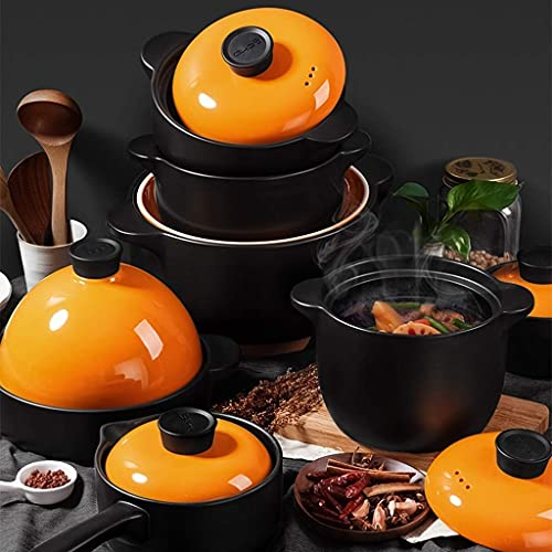 QIXIAOCYB Cacerola de hierro fundido, cazuela de guiso resistente al calor, olla de cerámica para sopa, olla de piedra, con tapa, apto para gas, horno, cazuela (tamaño: 3000 ml)