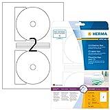 HERMA Etichette per CD, Ø 116 mm MAXI, Etichette Adesive A4 per Stampante, 2 Etichette per Foglio, Bianco