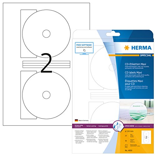 HERMA 4850 CD-/DVD-Etiketten inkl. Positionierhilfe für Inkjet Drucker DIN A4 (Ø 116 mm MAXI, 25 Blatt, Papier, matt) selbstklebend, bedruckbar, permanent haftende CD-Aufkleber,50 weiß