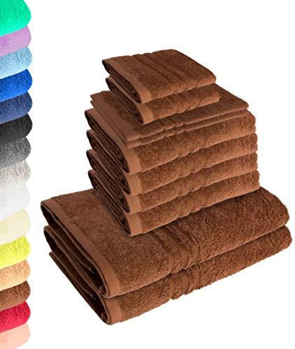Lavea Juego de toallas Elena de 10 piezas, color café, 4 toallas de mano, 2 toallas de ducha, 2 toallas de invitados, 2 manoplas de baño, 100% algodón