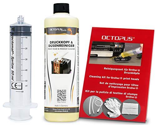 Octopus Düsenreiniger, Druckkopfreiniger kompatibel für Brother Druckköpfe mit Schlauchadaptern (250 ml)