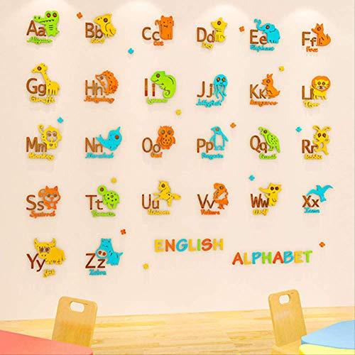 Adhesivo decorativo para pared, diseño de alfabeto en inglés, 26 unidades, acrílico 3D