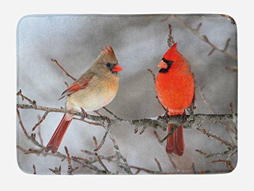 Bird Bath Mat, Pair of Northern Cardinals