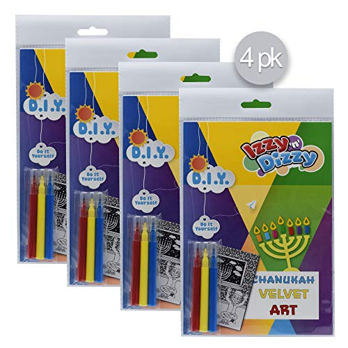 Izzy 'n' Dizzy Hanukkah Velvet Art Kit - 4 Pack - Includes 8' x 6' Board and 3 Markers (Non-Toxic) - Chanukah Arts and Crafts - Gifts and Games