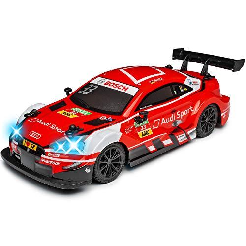 Siva A5 RS5 DTM Champion Rene Rast Rot 2,4 GHz RC Funkauto mit Beleuchtung und Akkupack 1/24 Modell Auto mit individiuellem Wunschkennzeichen kompatibel mit Audi